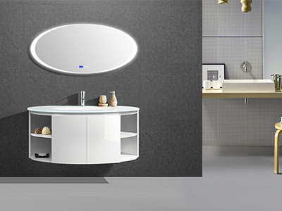 IL1901 Floating Single Vanity with Round Lighted Mirror