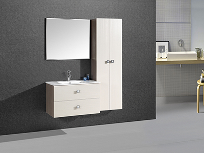 IL2507 Creamy White Single Vanity Set with Wall Cabinet and Wall Mirror